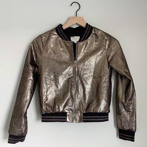 HANNAH BANANA gold metallic bomber jacket